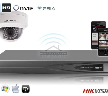 Hikvision IP kit 1x dome HD camerabewaking set