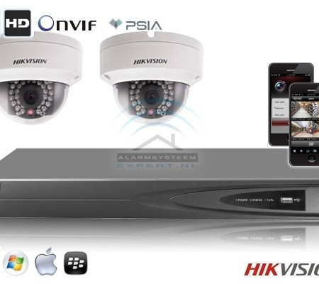 Hikvision IP kit 2x dome HD camerabewaking set met 2 IP dome camera's